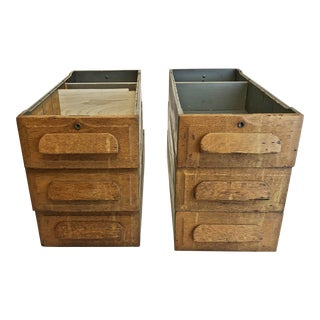 Vintage Industrial Wood Desk Drawers - Set of 6