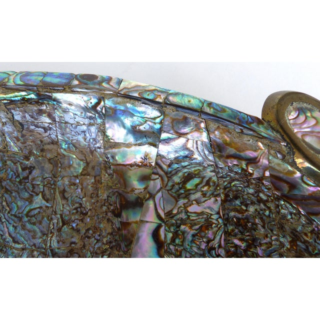 Metal Los Castillo Mexican Mid-Century Modern Mixed Metal and Abalone Parrot Tray For Sale - Image 7 of 13