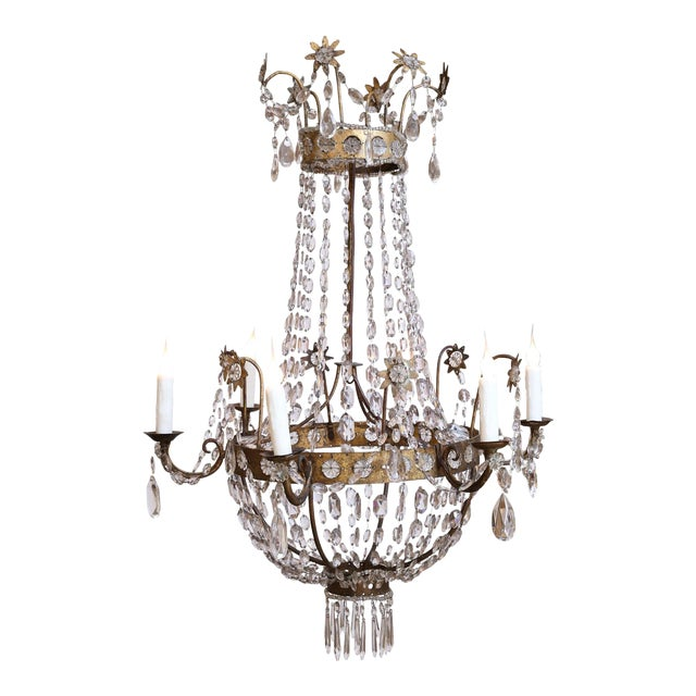 19th Century Neoclassical Gilt-Iron Chandelier For Sale