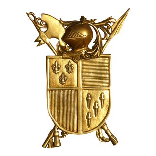 Vintage Medieval Coat of Arms Gold Plaque For Sale
