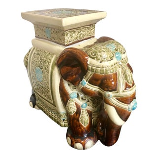 Chinese Ceramic Elephant Side Table For Sale
