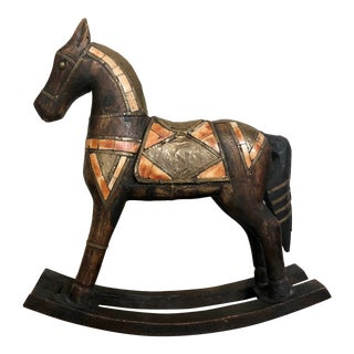 French Country Toy Wooden Rocking Horse For Sale