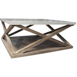 Fossil Stone Top Cocktail Table