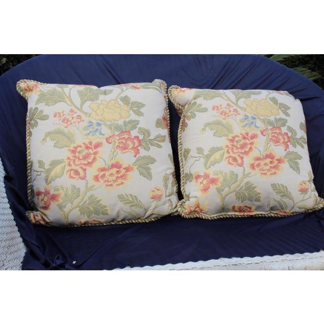 Red Pr. Of Possible Italian Scalamandre Down Filled Pillows For Sale - Image 8 of 13