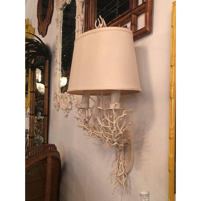 Mid 20th Century Palm Beach Metal Coral Wall Light Sconces - a Pair For Sale - Image 5 of 11