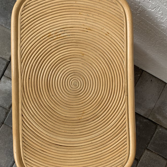 1970s Rattan Split Reed Magazine Rack Side Table For Sale - Image 9 of 12