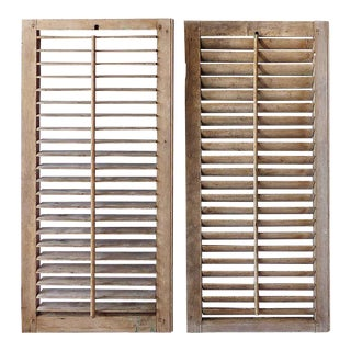 Early 20th Century Rustic Wooden Unpainted Adjustable Window Shutters - a Pair For Sale
