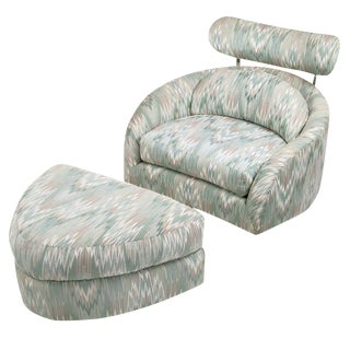 Adrian Pearsall Swivelling Club Chair With Ottoman and Integral Headrest For Sale