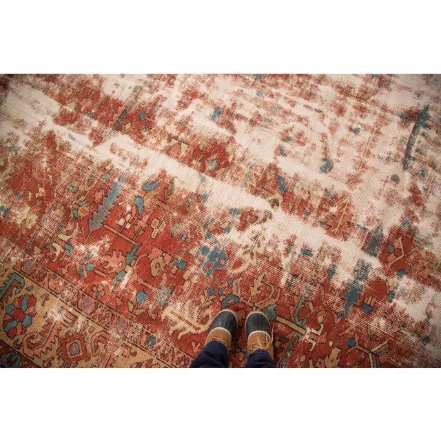 With a very distressed aesthetic with filled in foundation and areas of heavy wear, this room size carpet is a very cool...