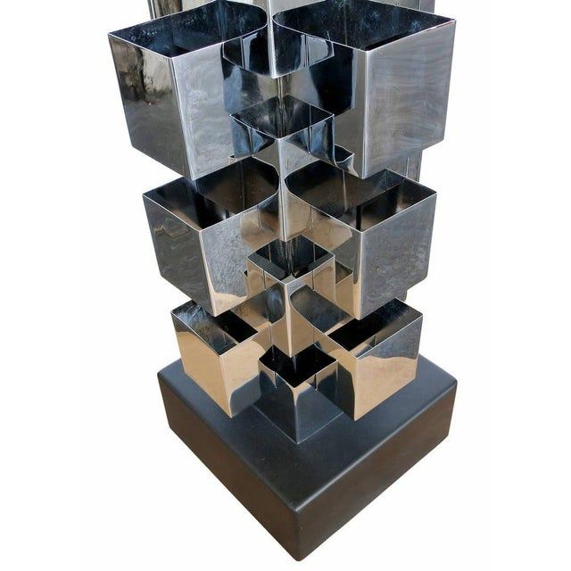 Chrome Interlaced Column Sculpture Table Lamp by Curtis Jere - Image 8 of 8