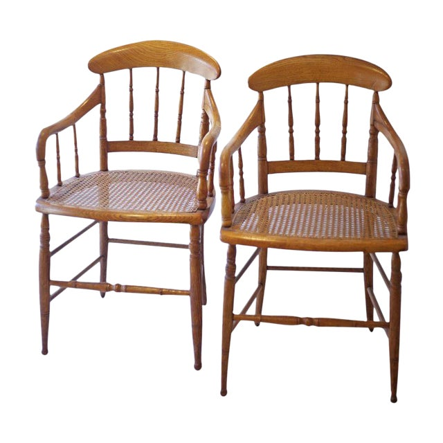 Cane Arm Chairs - a Pair For Sale