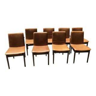 Camel Leather and Walnut Dining Chairs - Set of 8