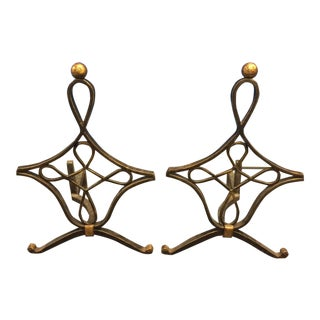 Brass French Wrought Andirons - A Pair