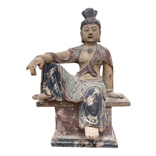 Han Dynasty Style Carved Wood Chinese Buddha Statue For Sale
