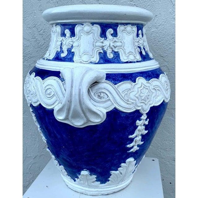 Blue Italian Blue and White Della Robbia Style Jardiniere, Provenance, Celine Dion For Sale - Image 8 of 11