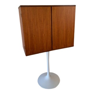 Teak Bar Stereo Cabinet With a Tulip Base For Sale
