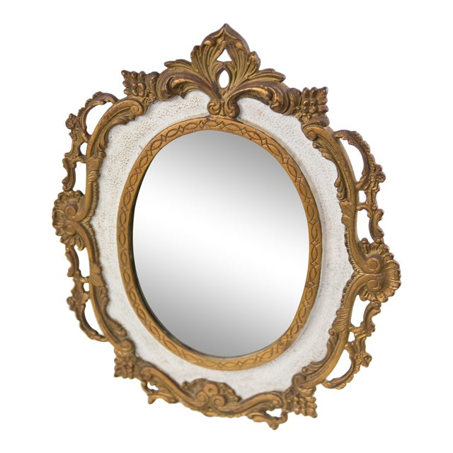 Antique French Bronze Table Dressing Mirror For Sale