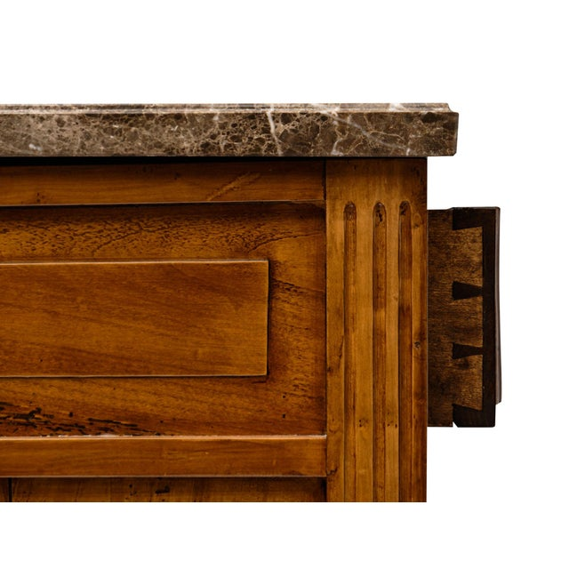 Metal Antique French Louis XVI Style Walnut Buffet For Sale - Image 7 of 10