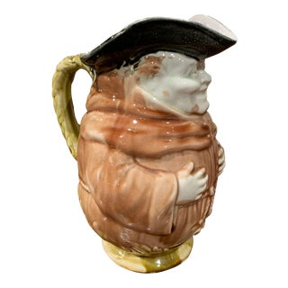 19th Century Belgium Painted Ceramic Barbotine Monk Pitcher From Onnaing For Sale