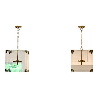 Worlds Away Modern Eli Square Acrylic and Brass Pendant - Set of Two For Sale