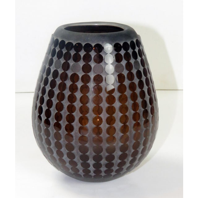 1985 Signed R. L. Gardner Studio Glass Circular Vase For Sale - Image 4 of 8