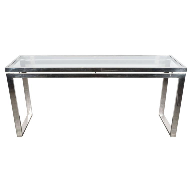 Exceptional Mid Century Modernist Chrome And Glass Console Or Sofa