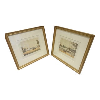 French Bookpaper Mattes & Gilt Frames - A Pair For Sale