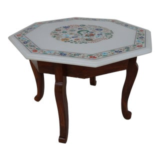 20th Century Afghan White Marble Inlaid Octagonal Tabletop Coffee Table For Sale