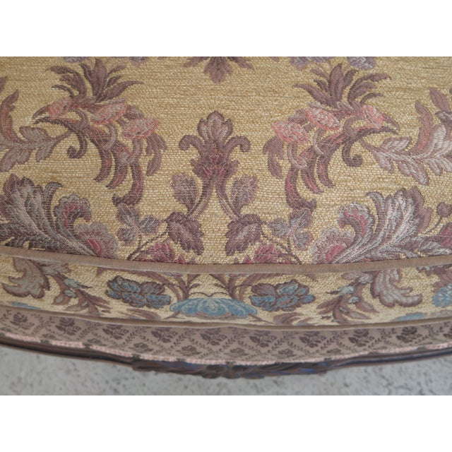 Textile French Louis XV Style Loveseat with Ottoman - A Pair For Sale - Image 7 of 13