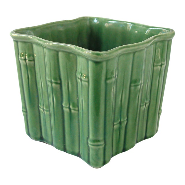 Green Ceramic Bamboo Planter For Sale