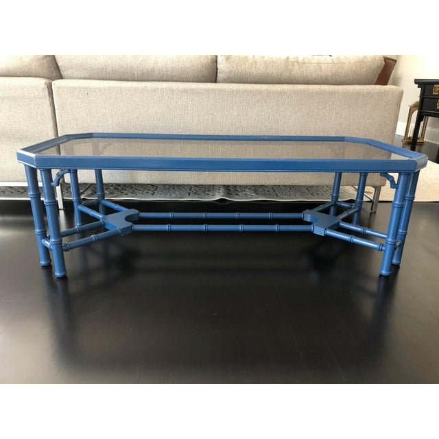 Chinoiserie Vintage Chinoiserie Faux Bamboo Painted Coffee Table For Sale - Image 3 of 11