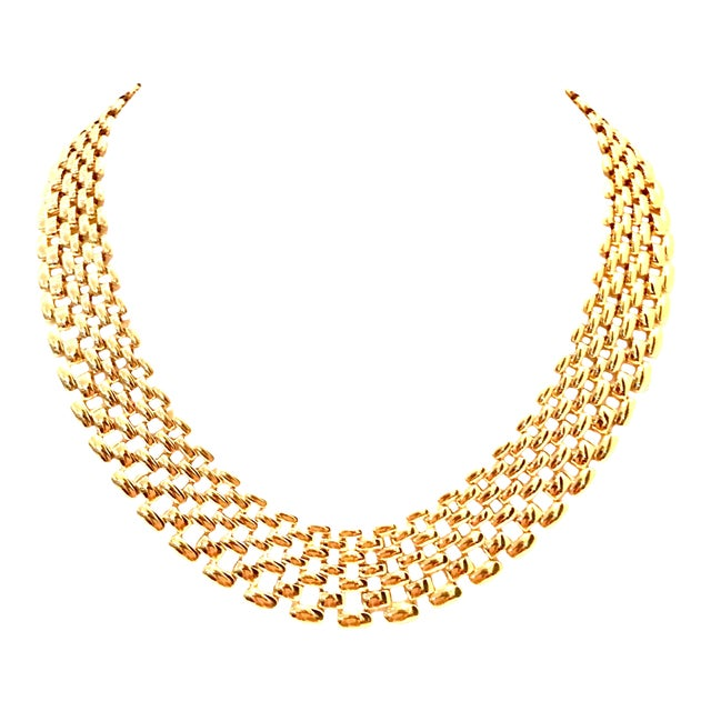 20th Century Gold Plate Link Choker Style Necklace By, Napier For Sale