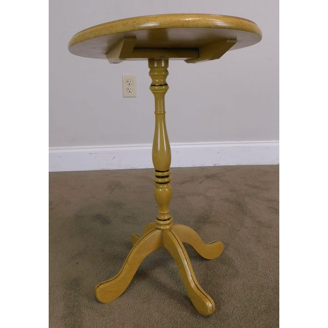 Bicentennial Colonial Yellow Stenciled Tilt Top Oval Side Table by Lock For Sale - Image 9 of 13