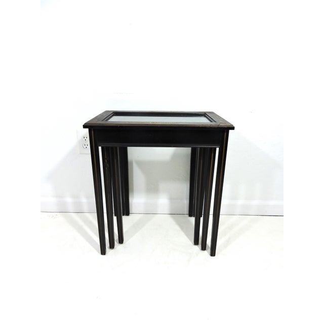Japanese Vintage Black Japanned 'Pagoda & Landscape' Asian Glass Top Nesting / Side Tables - Set of 3 For Sale - Image 3 of 9