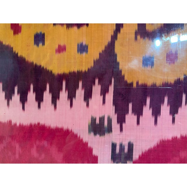 Purple Antique Silk Ikat Display in Lucite Shadowbox For Sale - Image 8 of 13