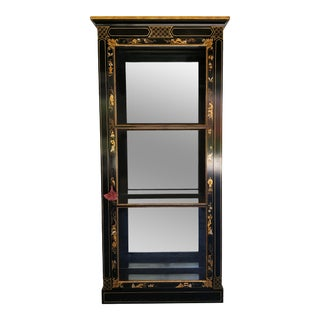 Vintage Asian Style Mid-Century Hand Painted Black Lacquer Cabinet For Sale
