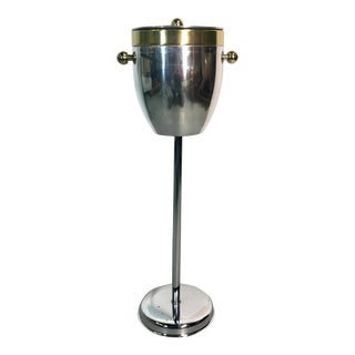 Modern Brass Chrome Ice Bucket / Champaign Stand For Sale