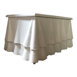 1970s Figurative White Plaster Draped Ruffle Table For Sale