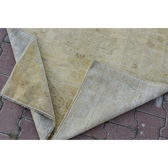 Distressed Turkish Handmade Vintage Beige Rug -3′8″ × 6′1″ - Image 8 of 8