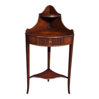 Antique American Federal Mahogany Petite Etagere Corner Shelf Table Wash Stand For Sale