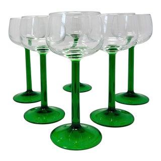 Vintage 1970s French Nib Luminarc Vin Du Rhin Green Stemmed Wine Glasses - Set of 6 For Sale