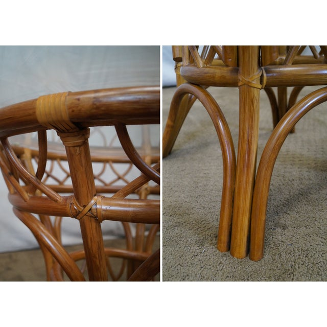 South Sea Rattan Collection Glass Top Dining Set For Sale - Image 9 of 10