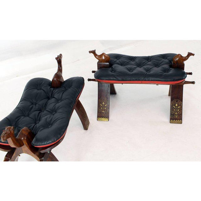 Wood Pair of Carved Rosewood Camel Benches Stools For Sale - Image 7 of 8