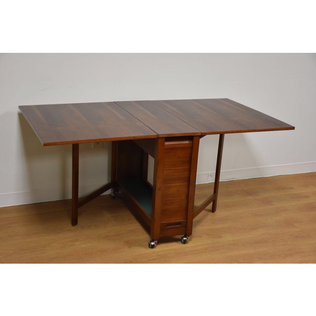 Walnut Dining Table and Self Storing Chairs - Set of 5 For Sale In Boston - Image 6 of 11