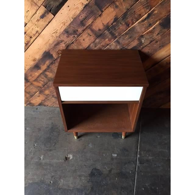 Mid-Century Walnut & White Lacquer Nightstand - Image 3 of 7