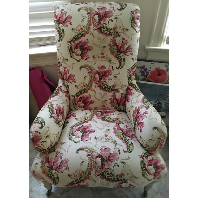 Floral Linen Armchair - Image 2 of 7