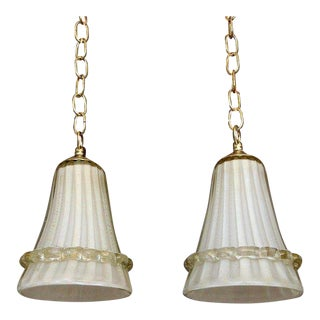 Pair of Murano Barovier Glass Cream & Gold Ceiling Light Pendants For Sale