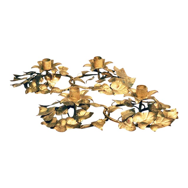 Italian Gold Leaf Candle Holders - a Pair For Sale