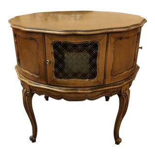 Vintage Wooden Drum Accent Table Cabinet