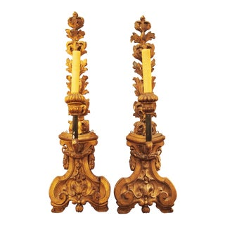 Pair of Finely Carved and Gilded Wall Lights For Sale